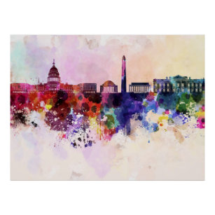 Póster Washington DC skyline in watercolor background