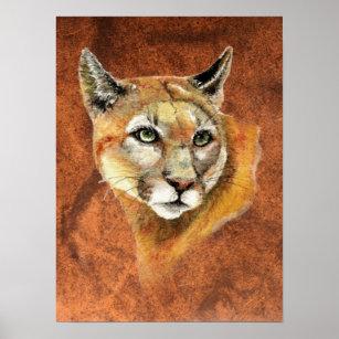 Póster Watercolor Cougar Mountain Lion Puma Tracks