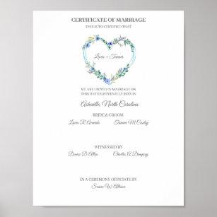 Póster Wedding Certificate Blue Floral Heart
