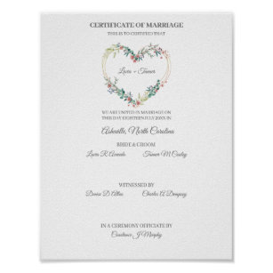 Póster Wedding Certificate Pink Floral Heart