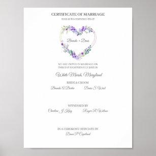 Póster Wedding Certificate Purple Watercolor Floral Heart
