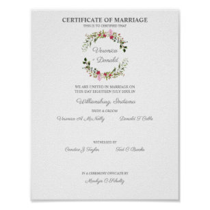 Póster Wedding Certificate Red & Pink Floral Wreath