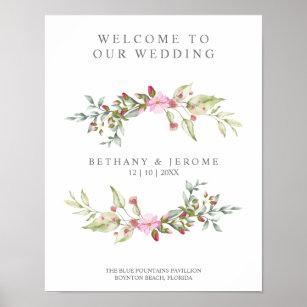 Póster Wedding Welcome Floral Wreath Pink Garland