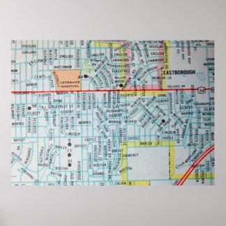 Póster Wichita, poster del mapa del vintage de KS