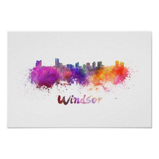Póster Windsor skyline in watercolor