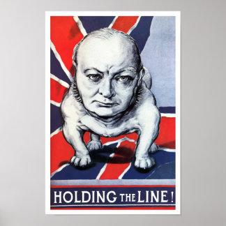 Póster Winston Churchill -- ¡Llevar a cabo la línea!