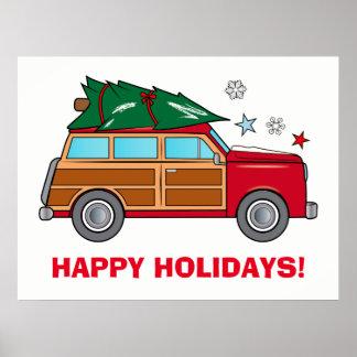 Póster Woodie con el árbol de navidad listo para ser