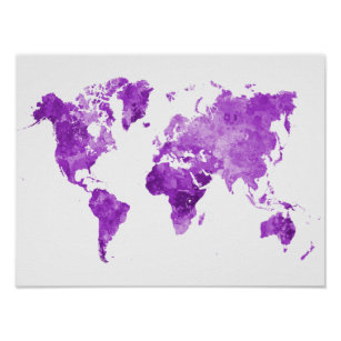 Póster World map in watercolor 08 Purple