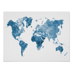 Póster World map in watercolor 09 Blue
