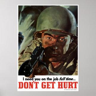 Póster WW2 -- No consiga lastimado