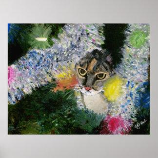 Póster Y un gato en un poster del árbol de navidad