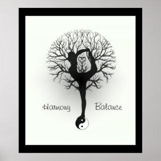 Póster Yin Yang, árbol de la vida, mujeres, yoga