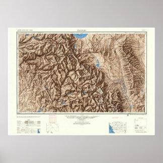 Póster Yosemite y las sierras--Mapa del vintage 1947