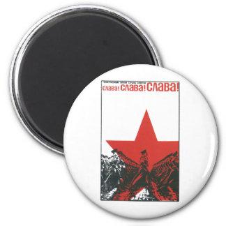 Posters de la propaganda de Unión Soviética de la  Imán Redondo 5 Cm