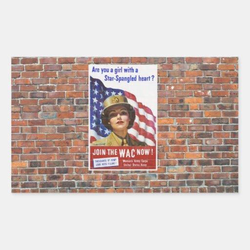 Posters de la propaganda del tiempo de guerra WW2 Rectangular Pegatina