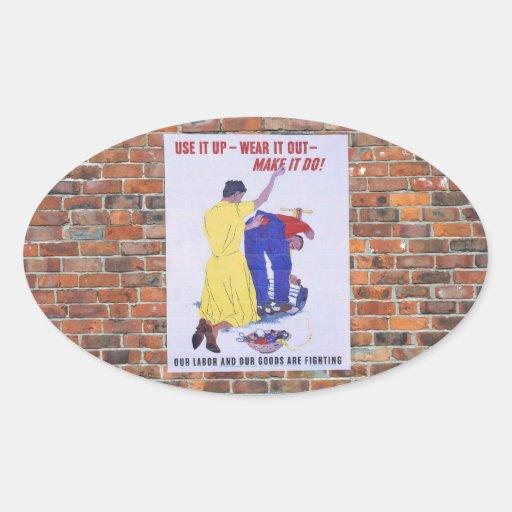 Posters de la propaganda del tiempo de guerra WW2 Calcomanías De Ovaladas
