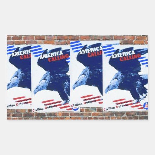 Posters de la propaganda del tiempo de guerra WW2 Rectangular Pegatinas