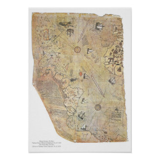 Posters del mapa del mundo de Piri Reis Póster
