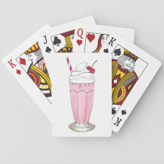 Postre rosado del Milkshake de la sacudida del Baraja De Cartas