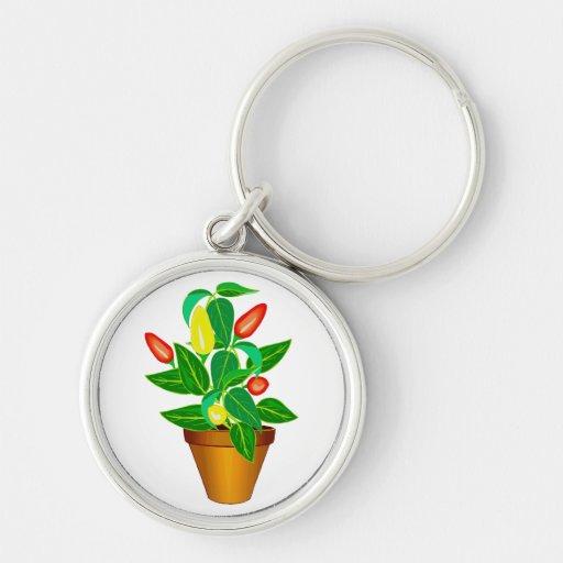 Pote con la planta roja y amarilla de la pimienta llavero personalizado