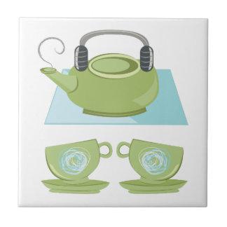Pote del té azulejo