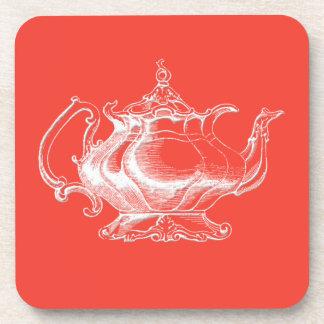 Pote del té del estilo del vintage en el sistema r posavaso