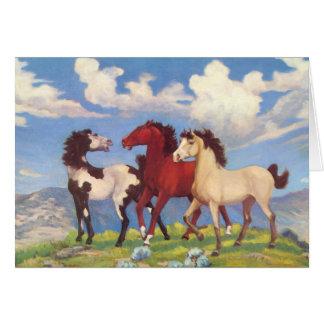 Potros de vaca occidentales tarjeta de felicitación