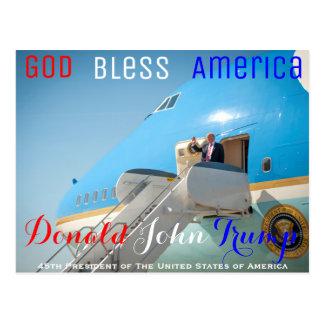 POTUS Donald Trump que agita Air Force One los Postal