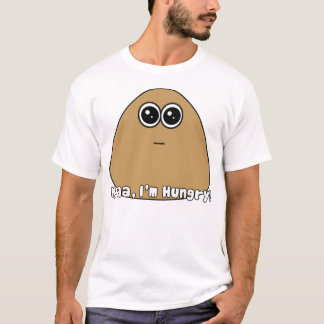Pou hambriento con el texto camiseta