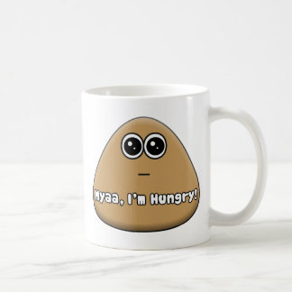 Pou hambriento con el texto taza de café
