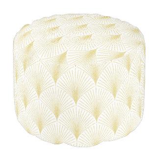 Pouf Blanco elegante y modelo geométrico del art déco