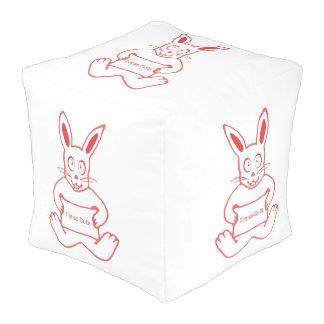 Pouf Conejo lindo con la bandera tan linda del texto de