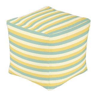 Pouf Crema del amarillo del jardín del verano y rayas