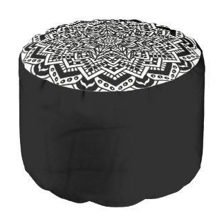 Pouf Diseño blanco y negro del taburete redondo