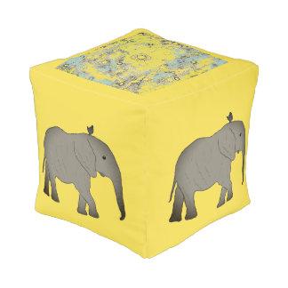 Pouf Elefantes cuadrados África del taburete