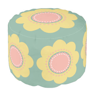 Pouf Flores amarillas y rosadas del bebé del vintage en