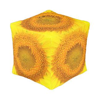 Pouf Taburete del cubo del poliéster del girasol