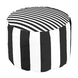 Pouf Taburete rayado blanco y negro