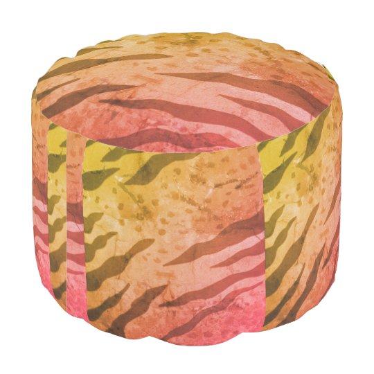 Pouf Taburete redondo del safari del estampado de
