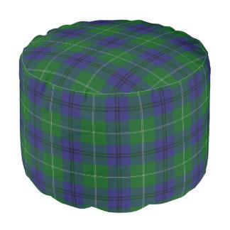 Pouf Tartán azulverde del estilo escocés de Oliphant