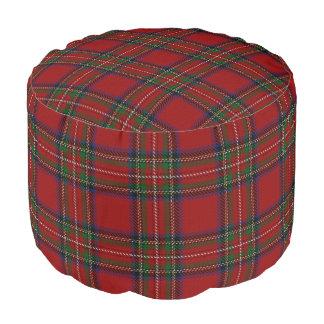 Pouf Tartán azulverde rojo del estilo escocés de