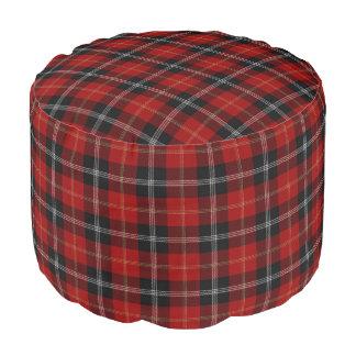 Pouf Tartán negro rojo del estilo escocés de