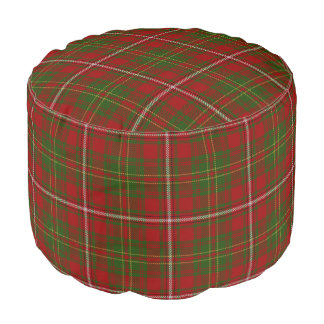 Pouf Tartán verde rojo del estilo escocés del heno del
