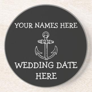 Práctico de costa adaptable del boda del ancla portavasos