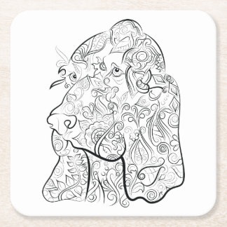 Práctico de costa adulto del colorante del dibujo posavasos de papel cuadrado