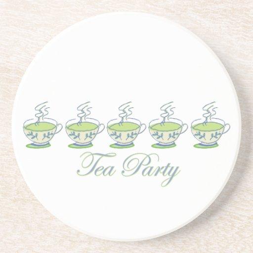 Práctico de costa de la fiesta del té posavasos personalizados