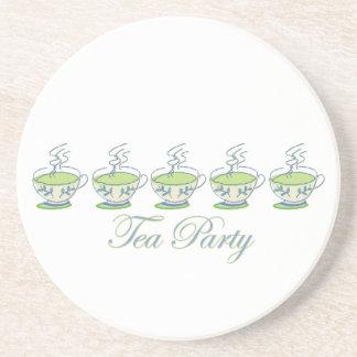 Práctico de costa de la fiesta del té posavasos diseño