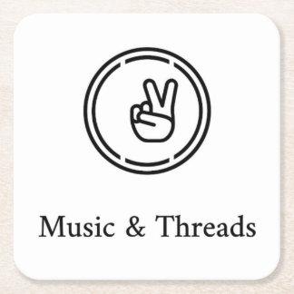 Práctico de costa de la música y de los hilos posavasos cuadrado de papel