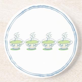 práctico de costa de la taza de té del té verde posavasos diseño