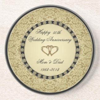 Práctico de costa del aniversario de boda de oro apoyavasos